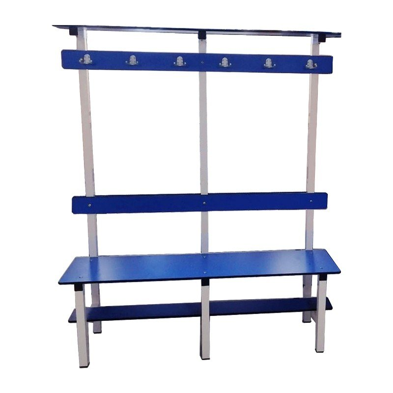 PHENOLIC CHANGING ROOM BENCH WITH HANGERS AND UPPER SHELF