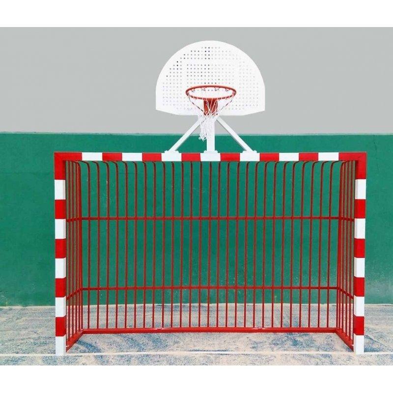 VANDAL-PROOF FUTSAL GOALS SET WITH BASKETBALL HOOPS (MULTI GOAL)
